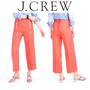 J. Crew Orange Sailor Pant in Heavy Linen, Size 10